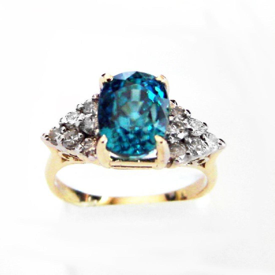 Natural Blue Zircon Diamond Ring: 5.84Ct 14k Y/g - 2