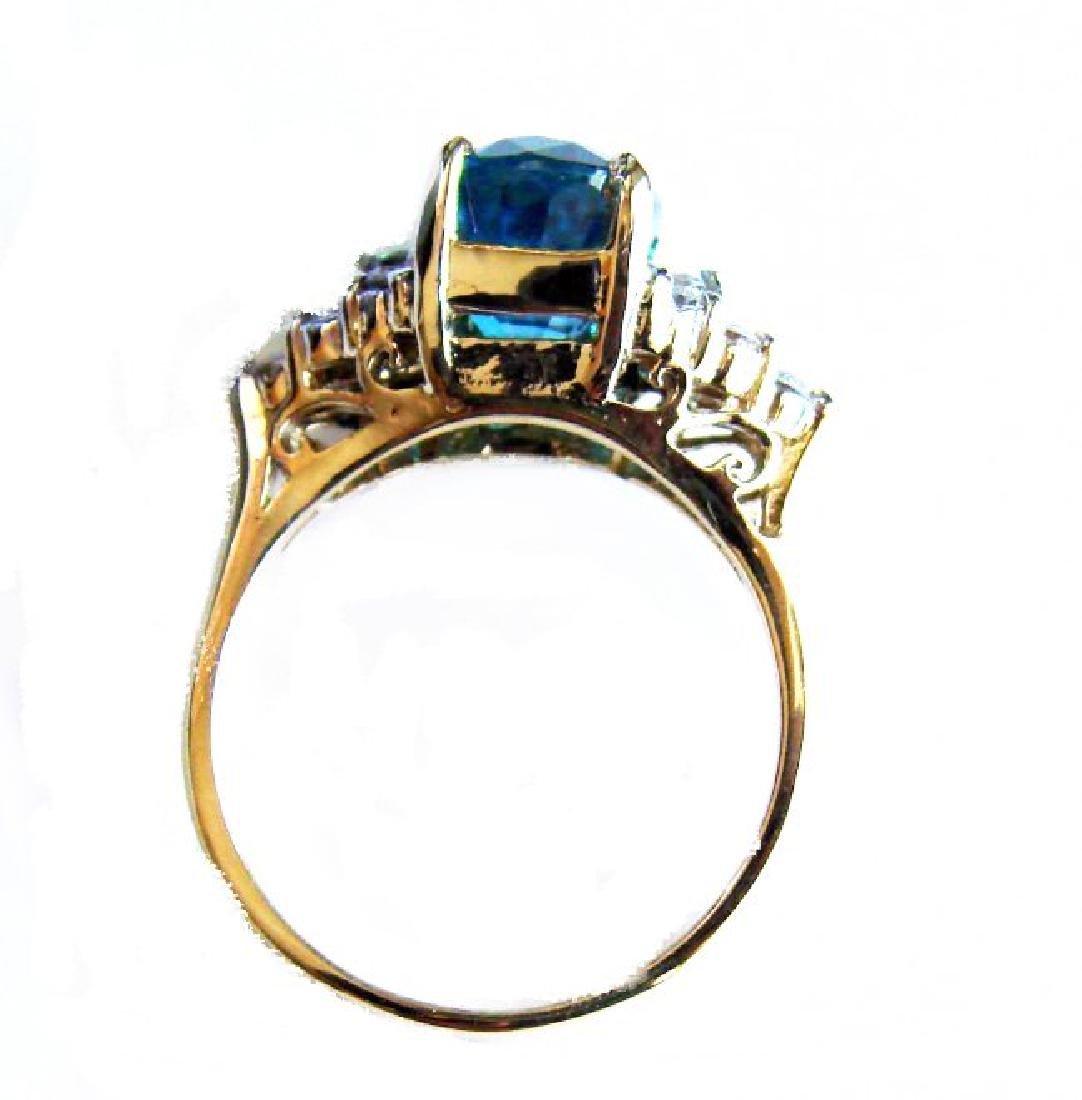 Natural Blue Zircon Diamond Ring: 5.84Ct 14k Y/g - 3