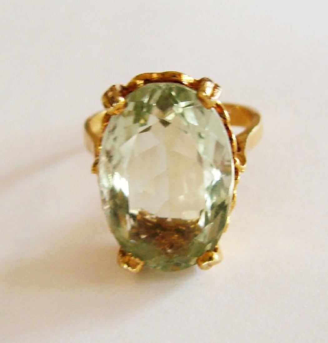 Natural Green Amethyst Ring 11.21Ct 14k Y/g