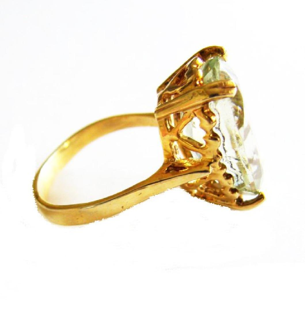 Natural Green Amethyst Ring 11.21Ct 14k Y/g - 2