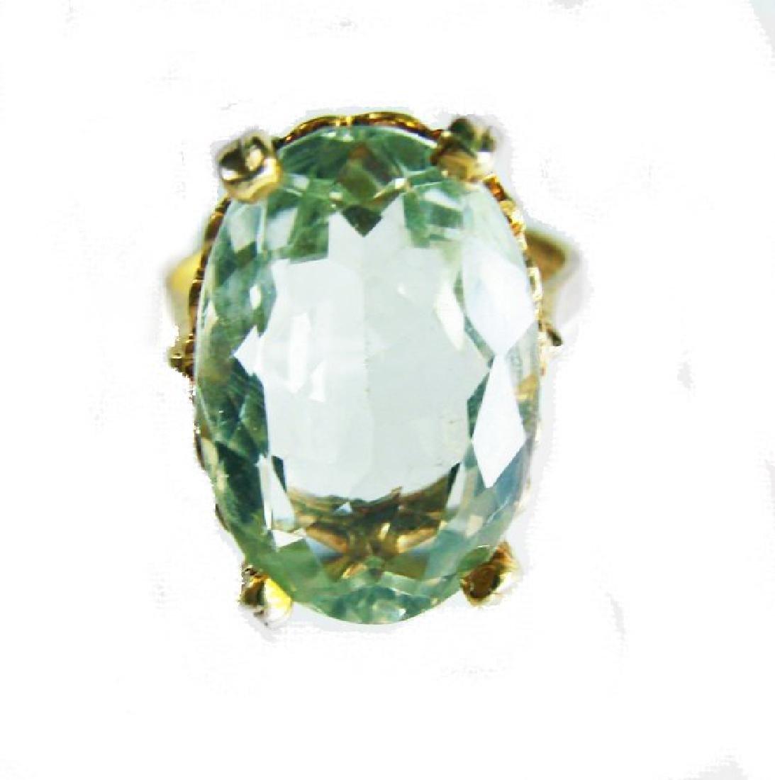 Natural Green Amethyst Ring 11.21Ct 14k Y/g - 3