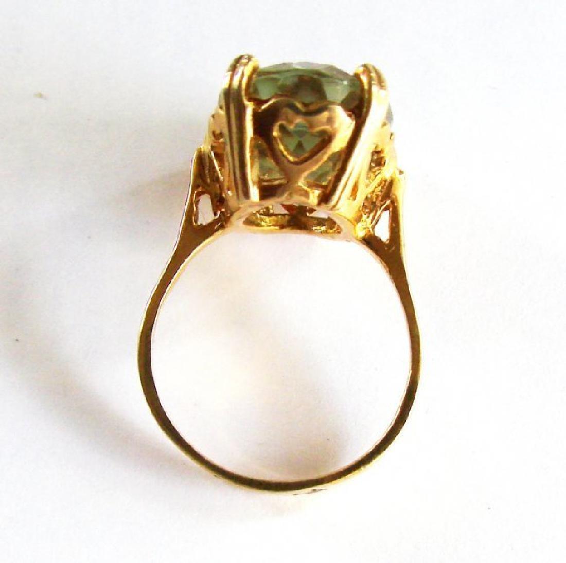 Natural Green Amethyst Ring 11.21Ct 14k Y/g - 4