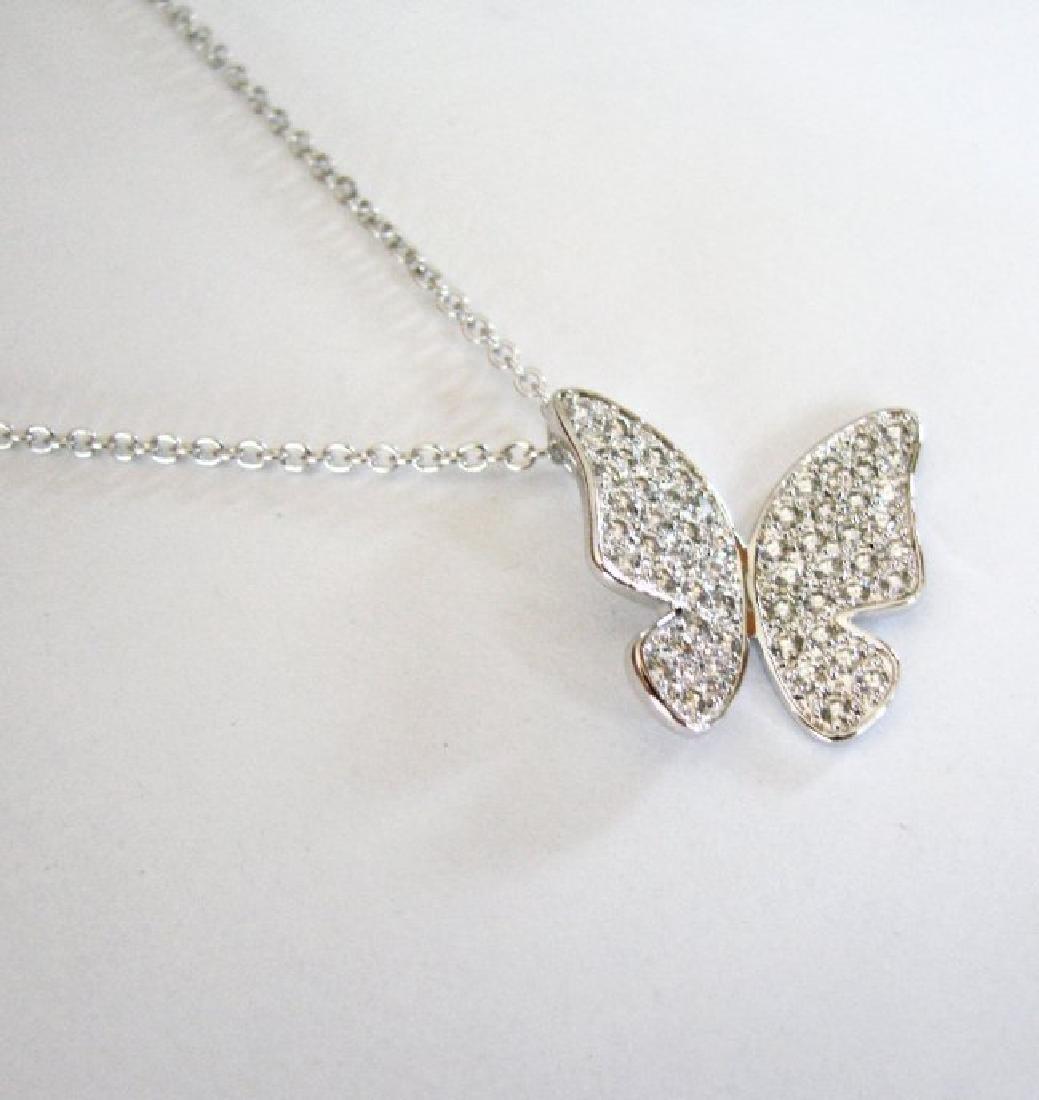 Creation Diamond Pendant Butterfly 1.12Ct 18k Wg Over - 2