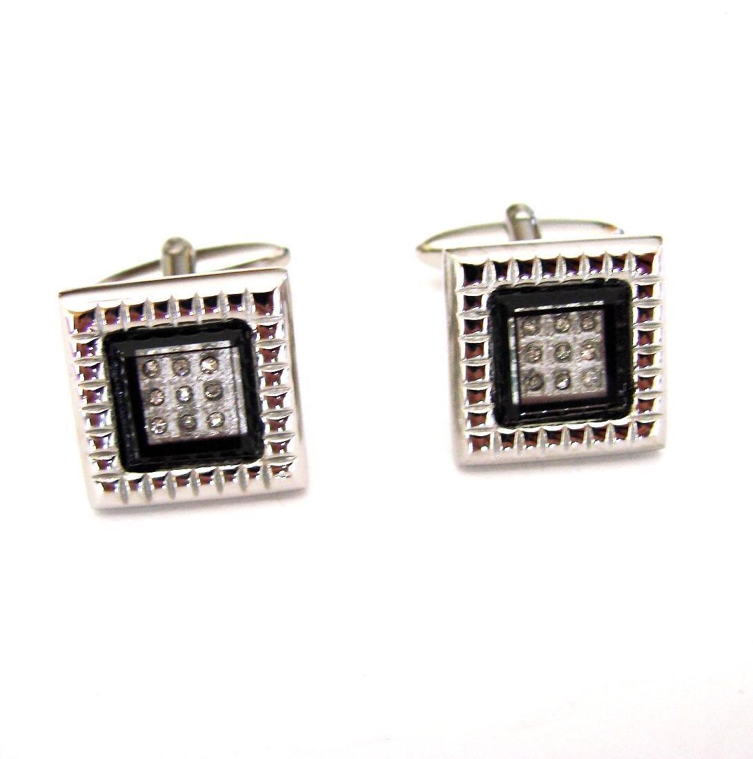 Men Cufflink Creation  Diamond .22Ct 18k W/g Overlay