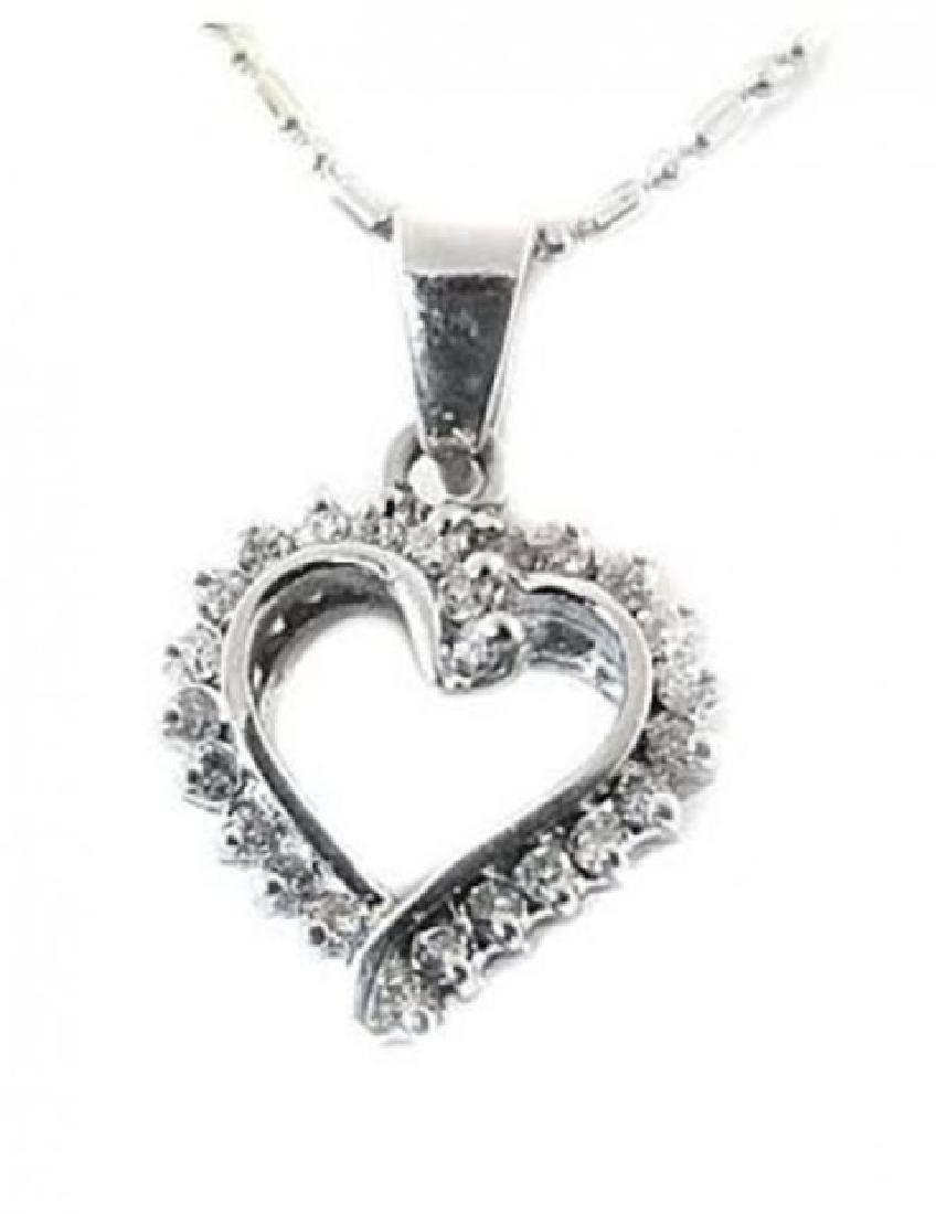 Heart Diamond Pendant .75 Carat with 14k in W/G