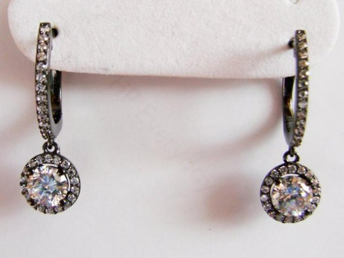 Creation Diamond Dangle Earring 2.45Ct 18k B/g