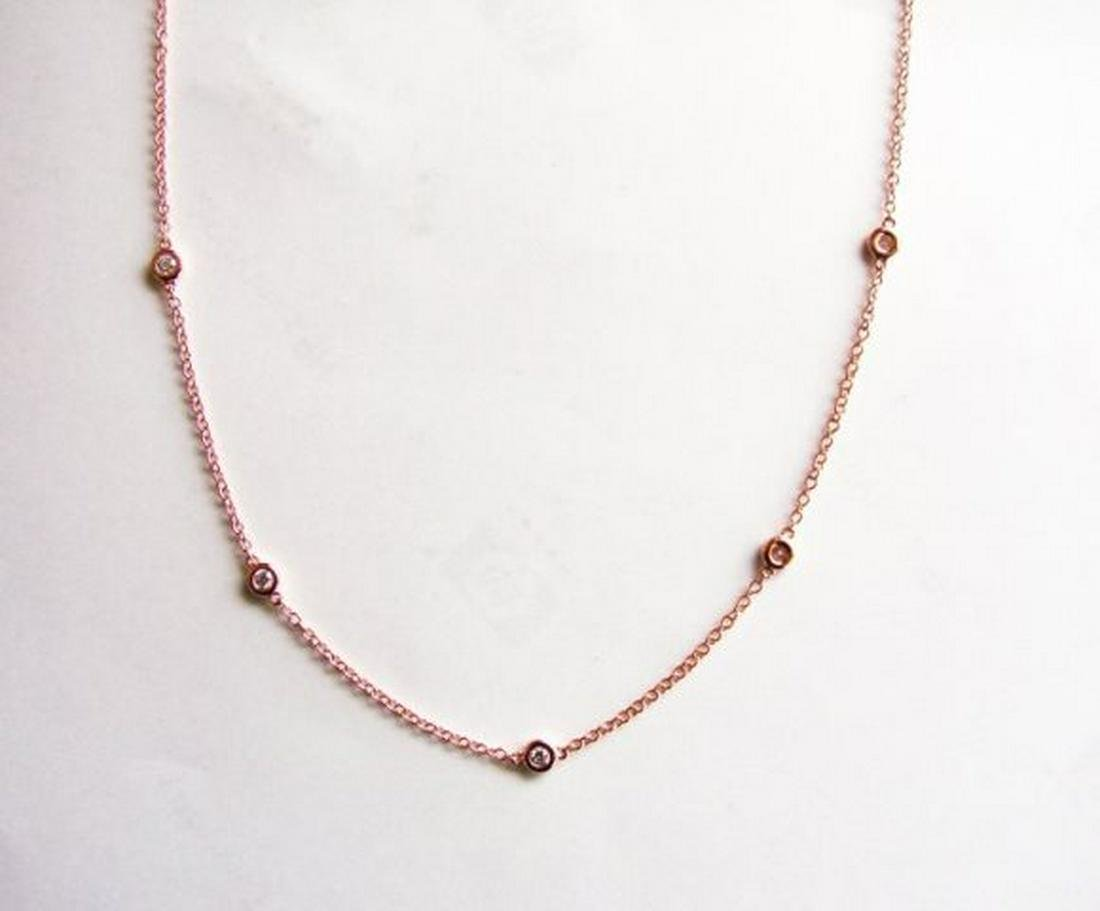 Ceation Diamond Tiffany Chain .90Ct 18k R/g Overlay