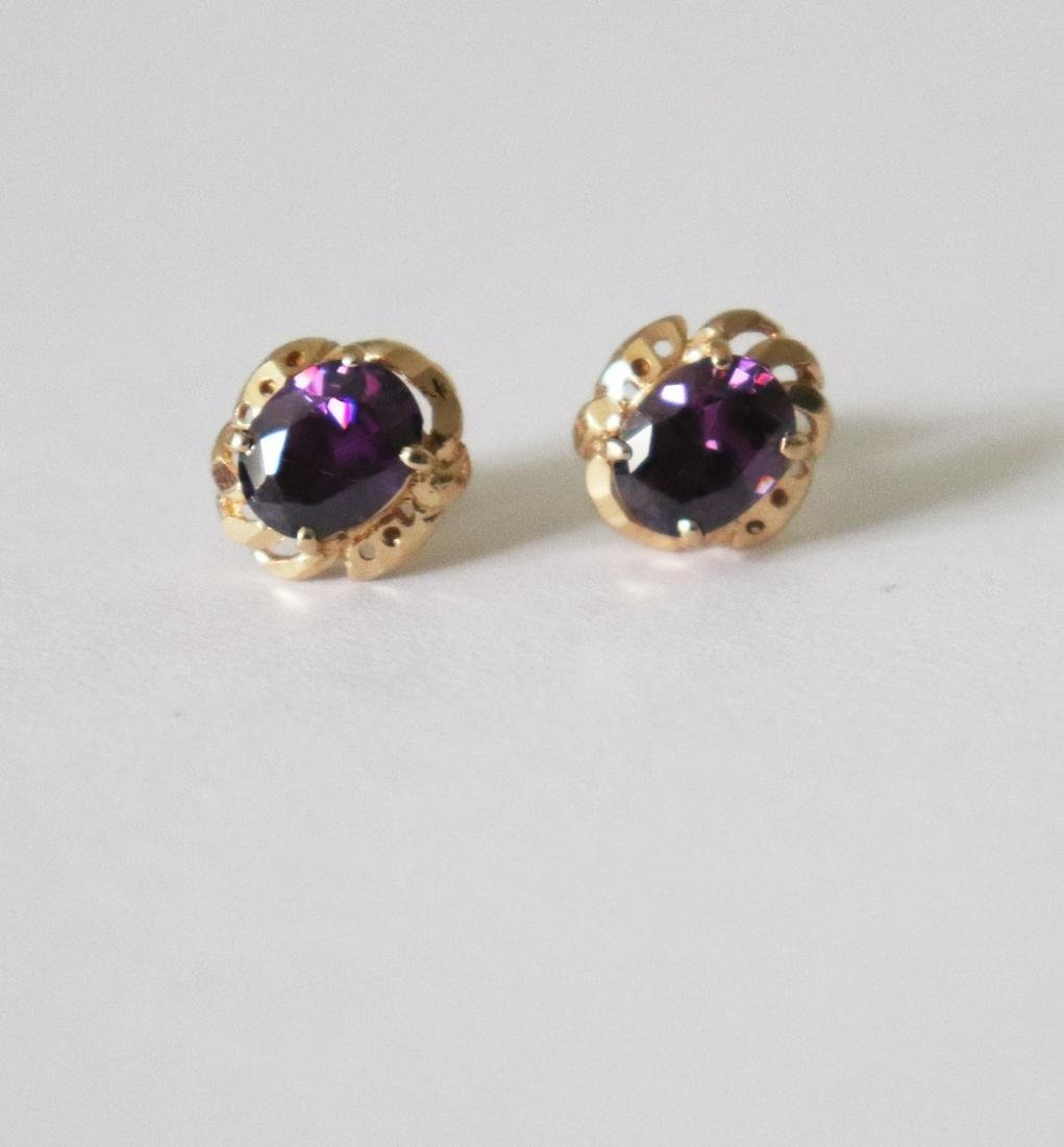 Natural Amethyst Stud Earring 5.38Ct 18k R/g
