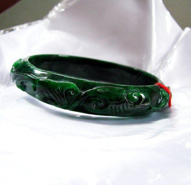 Natural Jade Carved Ruyi Imperial Bangle Grade A