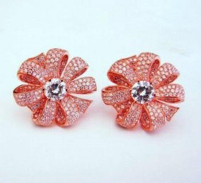 Creation Diamond Earrings 3.75Ct 18k R/g Overlay