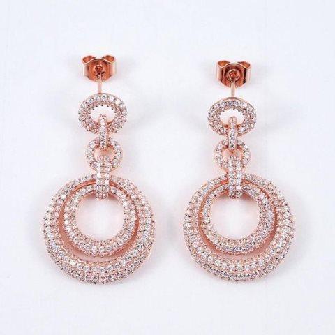 Creation Diamond Earring 4.12Ct 18k R/g Overlay