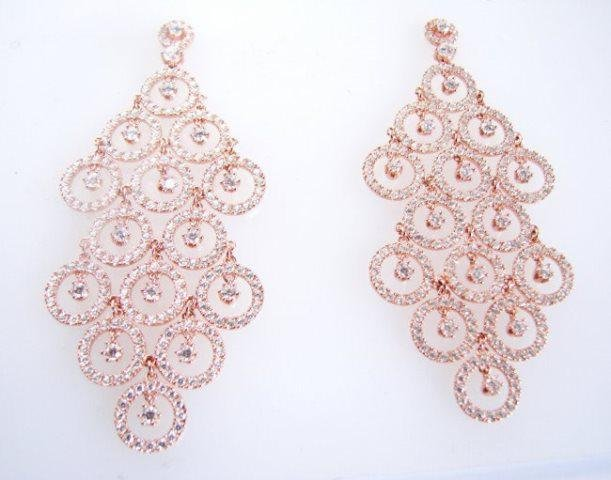 Creation Diamond Earring 7.40Ct 18k R/g Overlay