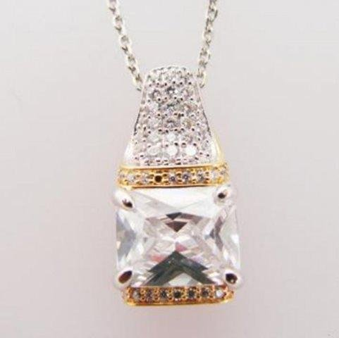 Creation Diamond Pendant 5.10ct 18k W-Y/g Overlay