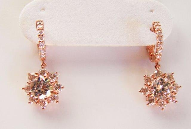 Earring Diamonds Creation 3.85ct 18k R/g Overlay