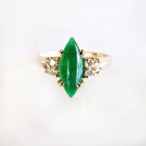 Diamond-Imperial Jadeite Jade Ring 2.76Ct 14k Y/g-Sz 7