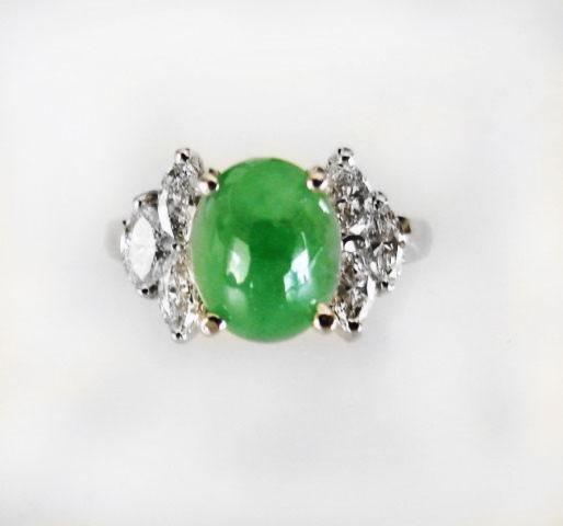 Diamond-Imperial Jadeite Jade Ring 4.24Ct14k W/G-Sz 6.5