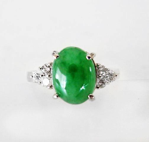Diamond-Imperial Jadeite Jade Ring 3.39Ct14k W/G-Sz 6.5