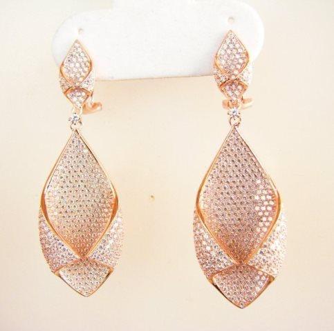 Creation Diamond Chandeliers Ear 5.24Ct 18k R/g Overlay