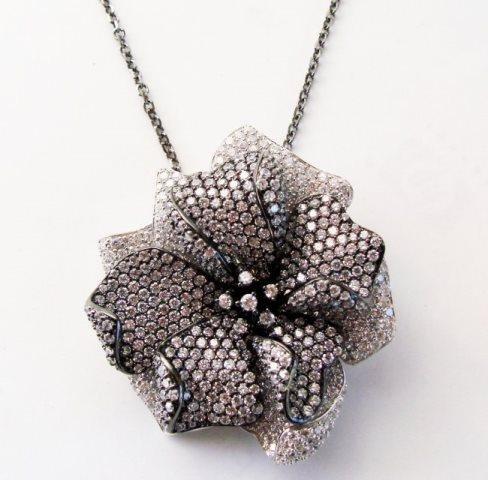 Creation Diamond Pendant 6.45Ct 18k B-W/g Overlay