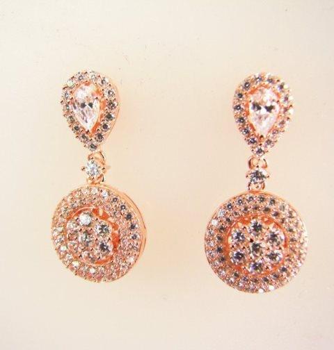 Creation Diamond Earrings 2.00Ct 18k R/g Overlay