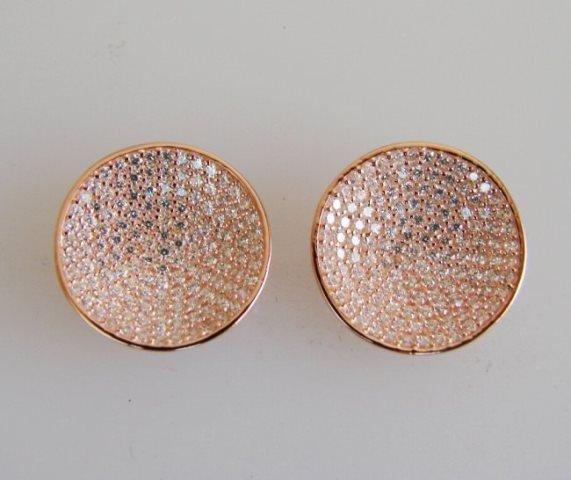 Creation Diamomd Stud Earrings 2.00Ct 18k R/g Overlay