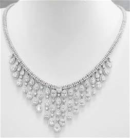 Trending 2020 Creation, Diamond Necklace 18k W/g over S