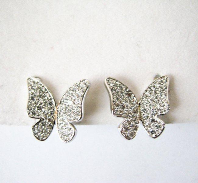 Butterfly  Earring 1.60Ct 18k W/g Overlay 925