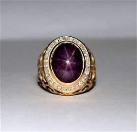 Natural Star Ruby Diamond Men Ring 24.27Ct 14K Y/g SZ-8