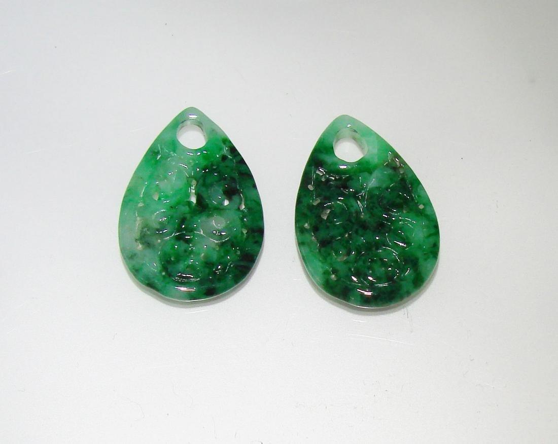 """Natural Jade Jadeite Carved Earrings Grade: """"A"""""""