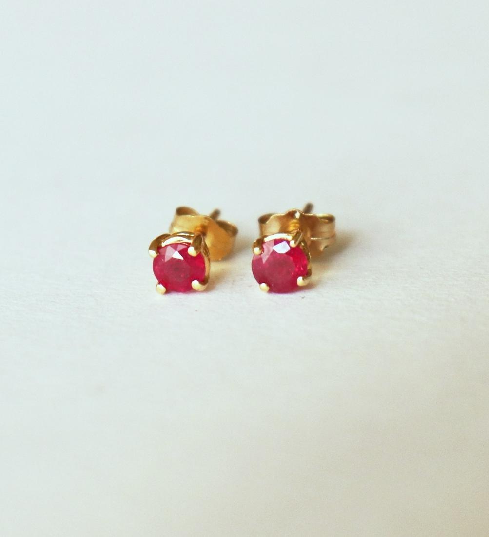 Stud Ruby Earrings .82 Carat 14k Yellow Gold