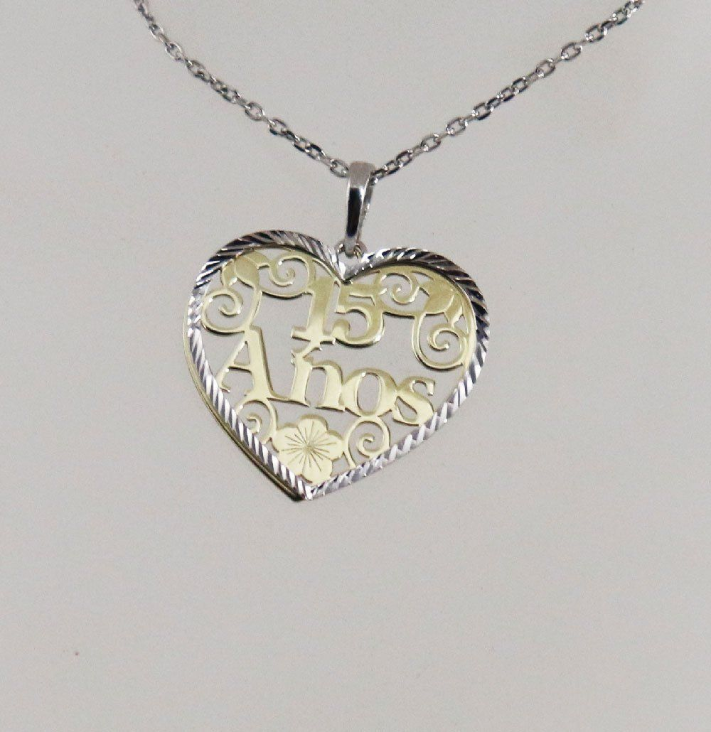 Sweet 16 Heart Shaped Necklace 18k Gold Overlay 925