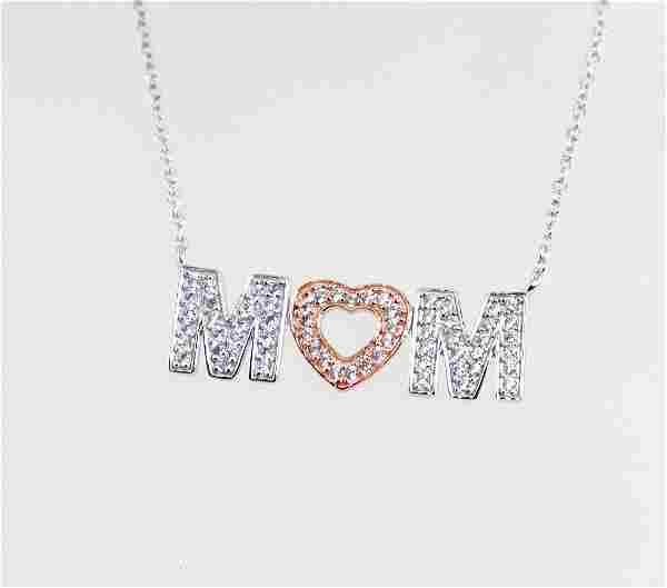 Letter Mom Necklace Creation; Diamond 1.00 CT 18 K W/g