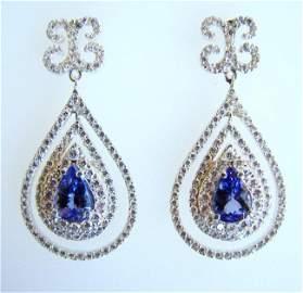 Earrings Natural Diamond & Tanzanite 11.12Ct 14k W/g