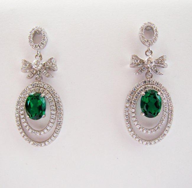 Creation Diamond/Green Garnet Earring 5.50Ct 18k W/g