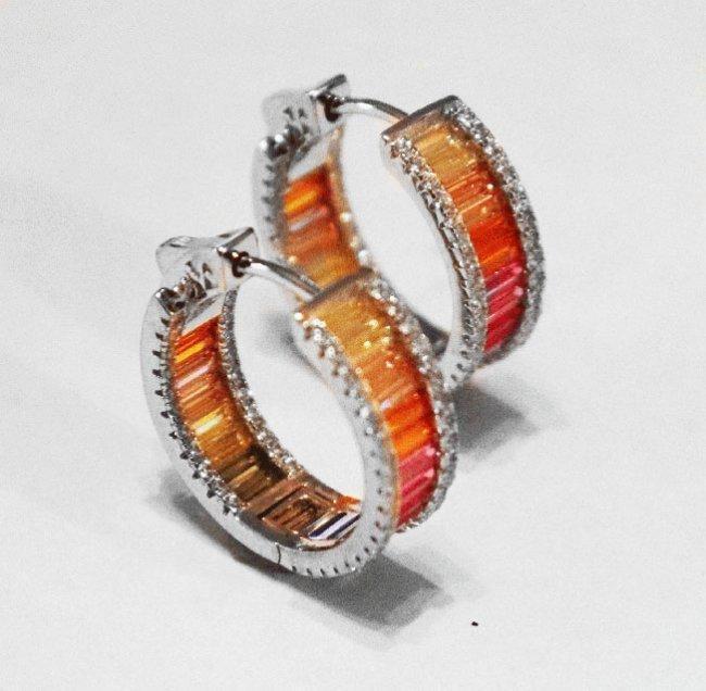 Multi-Color Hoop Earrings 18k W/g Overlay 925
