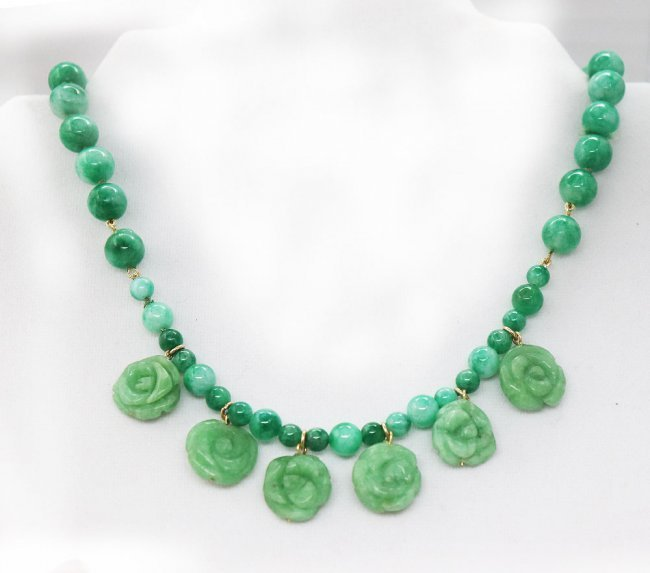 Jade Necklace 23 inches with Gold Fill Fish Clasp
