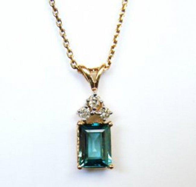Diamond Blue Zircon Pendant 2.31Ct 14k Y/G