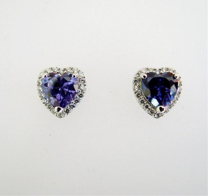 Creation Diamond/Tanzanite Earrings 4.18Ct 18k W/g