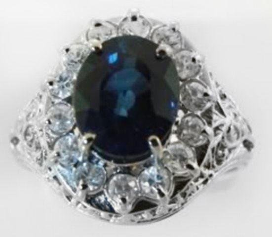 Blue Sapphire Diamond Ring 3.84Ct 14k W/g
