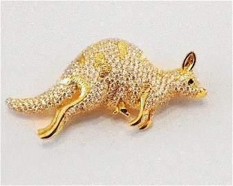 Kangaroo Brooch 18k White Gold Overlay 925