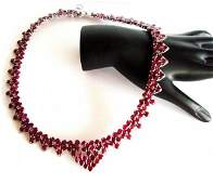 Natural Ruby Necklace 110.51Ct 18K W/G Overlay