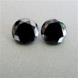 Natural Pairs Black Diamond Round 2.89Ct 7.4x4.8 mmmm