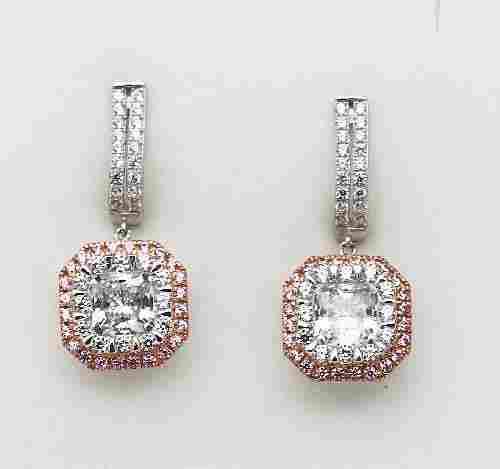 Dangle Earrings Creation Diamond 5.90CT 18K W/G Overlay