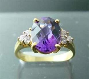 Amethyst Ring 2.40CT/Diamond: .24 Ct Ring  14k Y/G