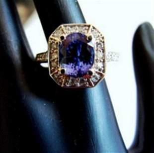 Nature Tanzanite & Diamond Ring 4.87Ct 14k Y/g