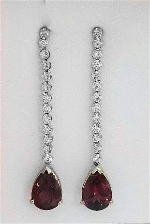 Pink Tourmaline: 4.23CT Diamond: .52CT Earrings14k W/g