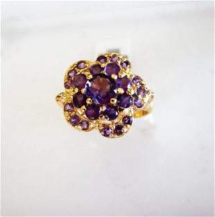 Natural Amethyst Ring 1.98Ct 18k Y/g Overlay