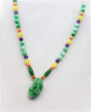 Multi-Color Necklace 25 inches with Gold Fill Clasp