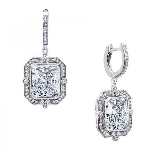 Creation, Diamond Daingle Earrings 18k W/g Over 925