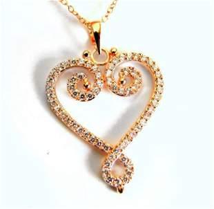 Creation Diamond Heart Pendant 1.16Ct 18k R/g Overlay